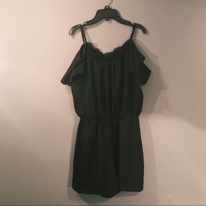Decree Black Off the Shoulder Romper